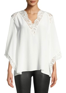 IRO Hawlk Silk Kimono-Sleeve Top with Lace