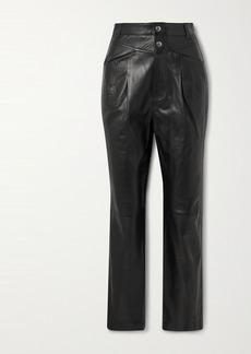 IRO Heim Pleated Leather Straight-leg Pants