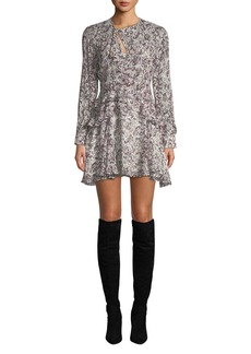 IRO Honess Printed Long-Sleeve Ruffle Mini Dress