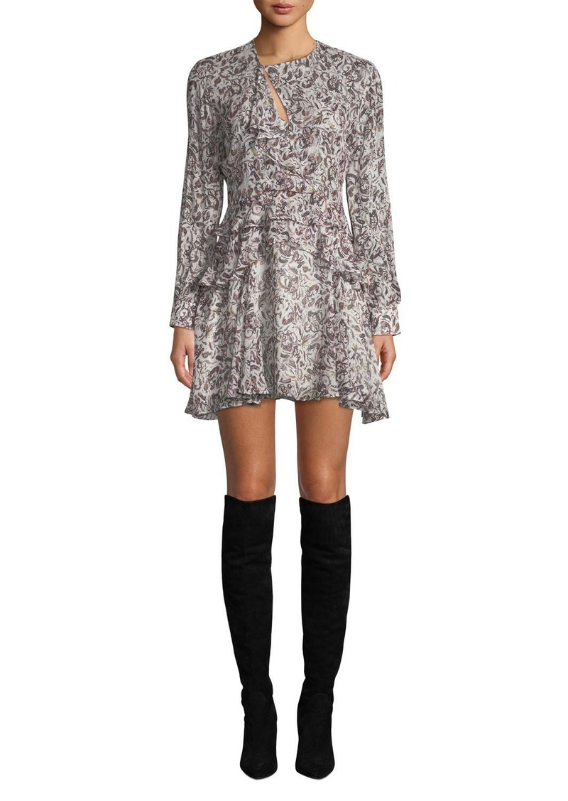 IRO Honess Printed Long-Sleeve Ruffle Mini Dress