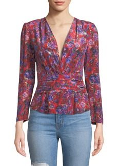 IRO Hurl V-Neck Long-Sleeve Floral-Print Silk Top