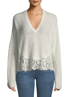 IRO Hysteria Lace-Trim V-Neck Sweater