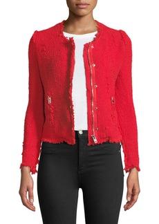 IRO Agnette Zip-Front Frayed Jacket