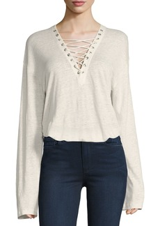 IRO Alety Lace-Up Long-Sleeve Top