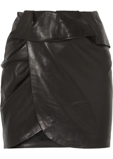 IRO Andice Ruffled Wrap-effect Leather Mini Skirt
