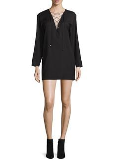 IRO Anice Lace-Front Wool-Blend Mini Dress