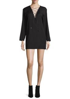Iro Anice Lace-Front Wool-Blend Mini Dress