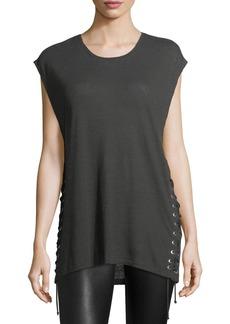 Iro Avys Crewneck Lace-Up Linen Top