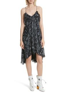 IRO Bagda Bandana Print Ruffle Trim Dress