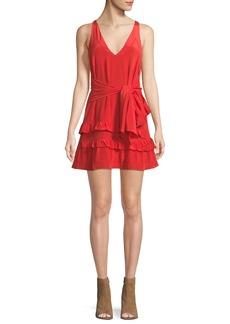 Iro Blutie V-Neck Sleeveless A-Line Silk Dress with Ruffled Trim