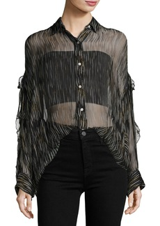 IRO Calgary Button-Front Sheer Tunic Top