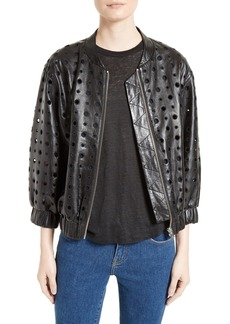 IRO Cillian Leather Eyelet Bomber Jacket