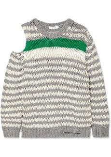 IRO Clapish Cold-shoulder Striped Cotton-blend Sweater