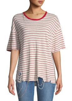 Iro Conah Frayed Short-Sleeve Striped Linen Top