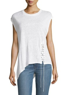 IRO Crewneck Asymmetric Linen Top with Lace-Up Detail