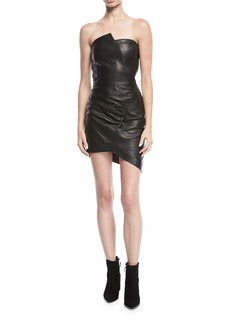 IRO Enoma Fitted Strapless Leather Mini Cocktail Dress