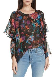 IRO Floral Print Asymmetrical Silk Blouse