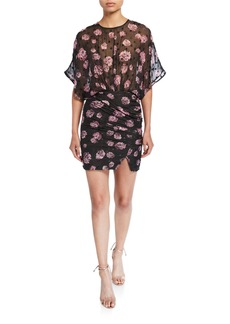 Iro Grandela Sheer Floral Ruched Mini Dress
