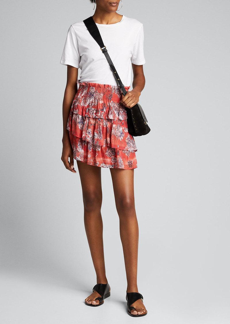 Iro Herty Printed Tiered Short Skirt