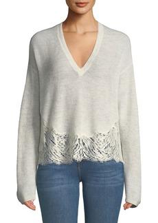 Iro Hysteria Lace-Trim V-Neck Sweater