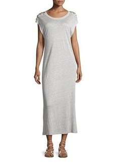 Iro Iboga Linen Laced-Shoulder Midi Dress