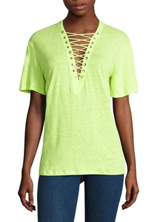 IRO Imis Lace-Up Linen Tee