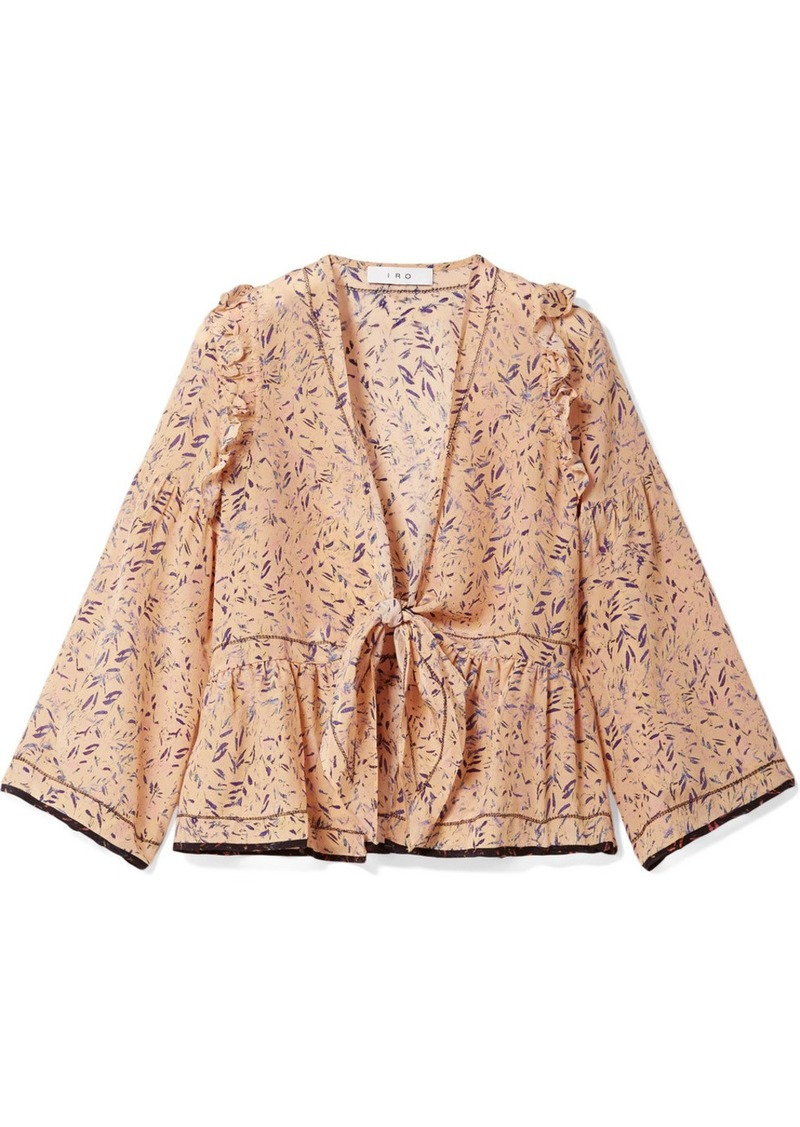 IRO Jarley tie-front printed silk crepe de chine blouse