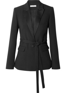 IRO Jinder belted satin-trimmed crepe blazer