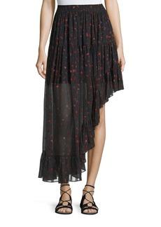Iro Jonel Printed Asymmetric Chiffon Skirt