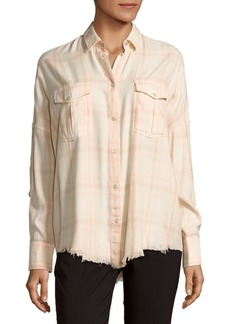IRO Kaitlyn Frayed-Hem Plaid Shirt