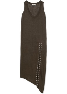 IRO Karossi Asymmetric Lace-up Slub Linen Dress