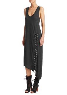 IRO Karossi Lace-Up Slit Linen Midi Dress