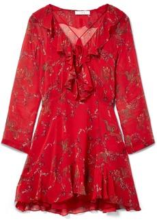 IRO Lucine Ruffled Printed Gauze Mini Dress