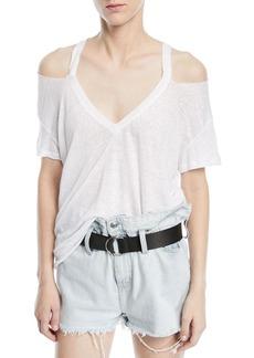 Iro Miffres V-Neck Cold-Shoulder Linen Top
