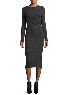 Iro Napinka Crewneck Long-Sleeve Cotton-Blend Midi Dress