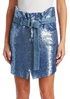 IRO Natou Belted Sequin Mini Skirt