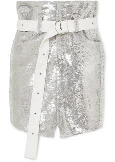 IRO Natou Belted Sequined Twill Mini Skirt
