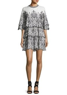 Iro Noor Tiered Embroidered Mini Dress