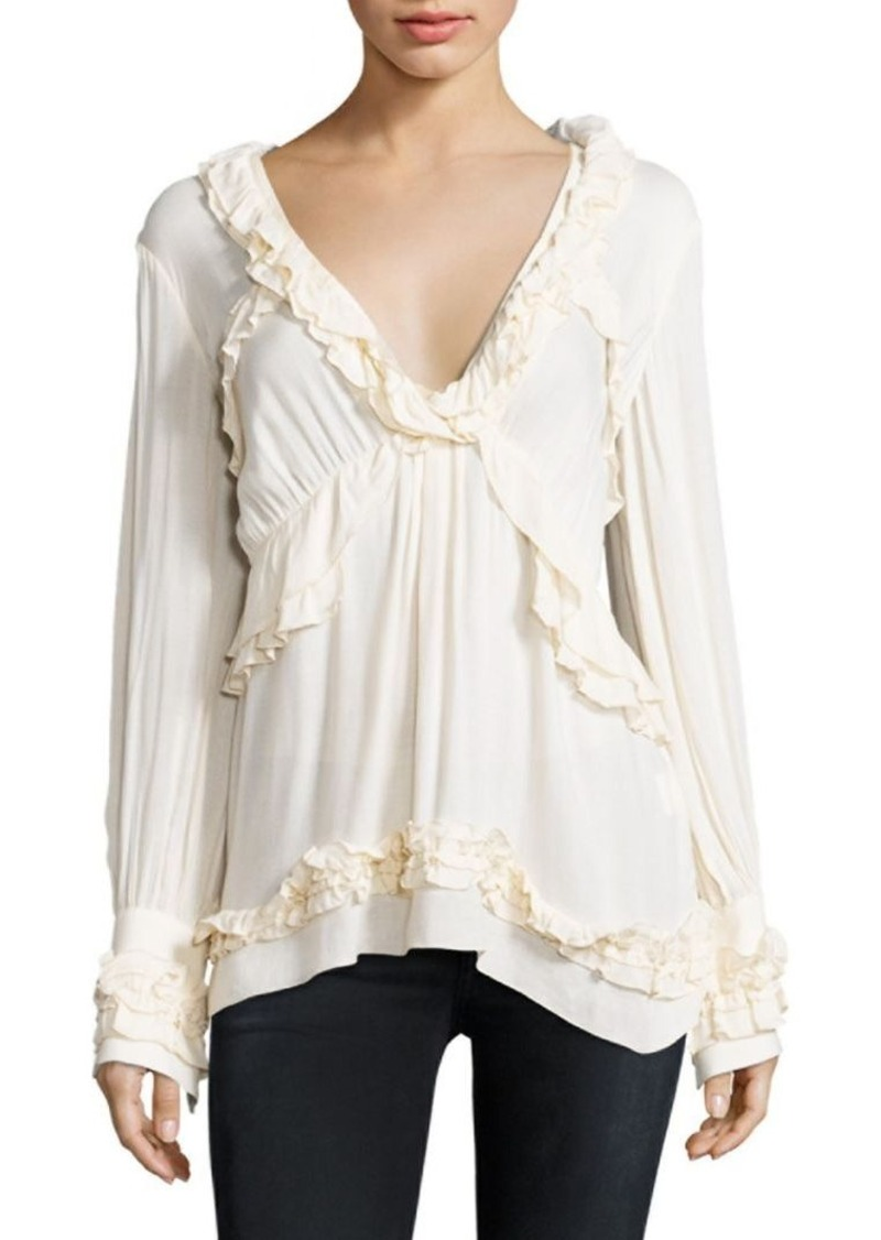 IRO Ophey Ruffle Trimmed Top