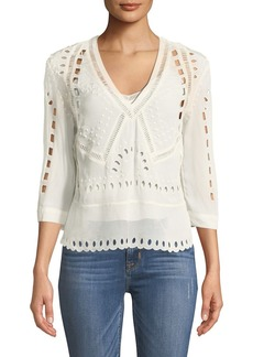 IRO Polita V-Neck 3/4-Sleeves Eyelet Top