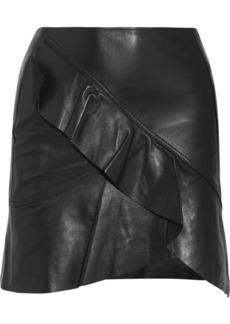 IRO Ruffled leather wrap-effect mini skirt