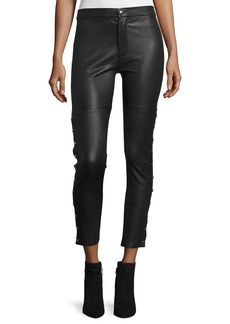 Iro Sabrina Snap-Trim Leather Ankle Pants