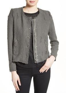 IRO Snap Front Crop Cotton Tweed Jacket