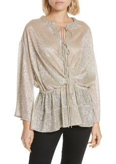 IRO Spacious Metallic Tie Neck Blouse