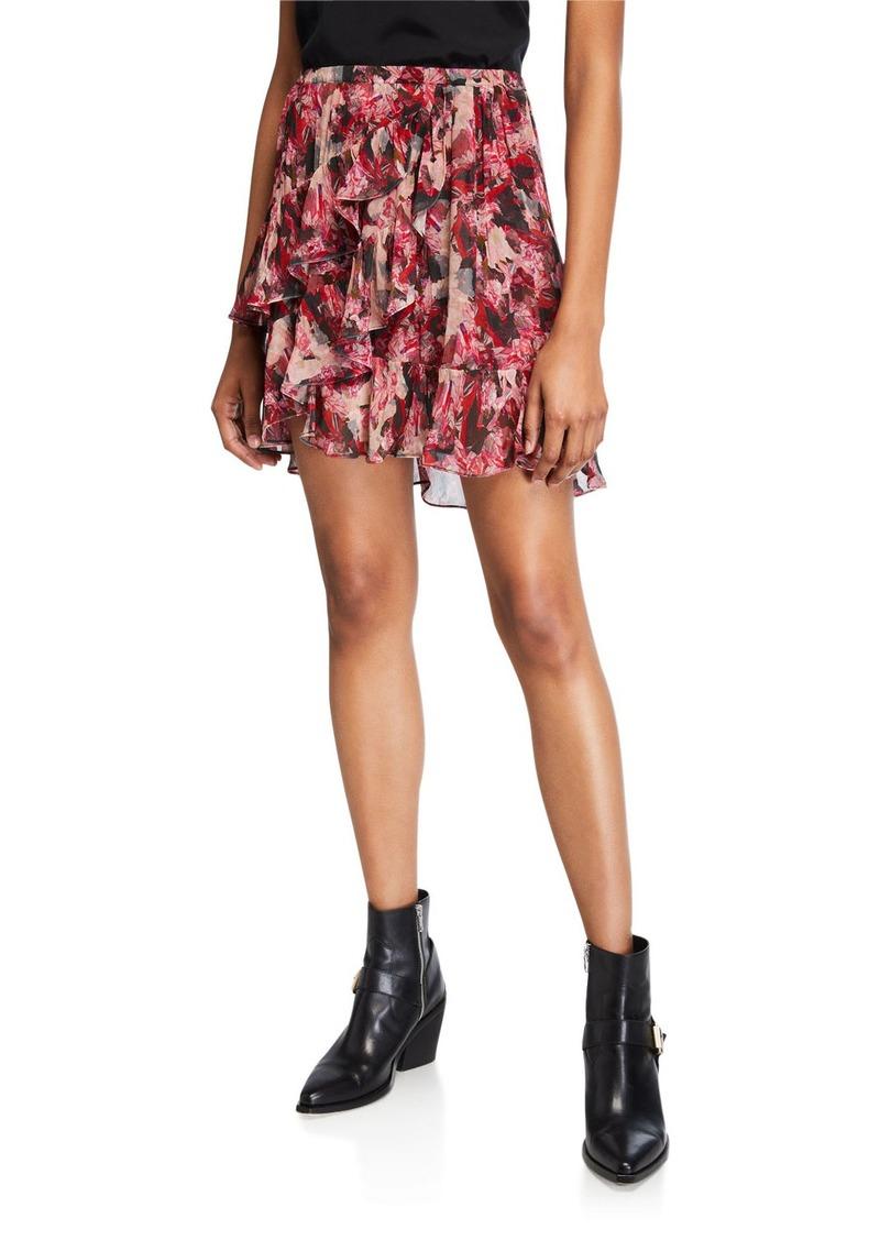 Iro Vanilla Printed Ruffle Short Skirt