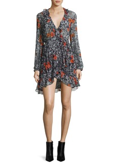 Iro Villia Printed Wrap Mini Dress w/ Ruffled Trim