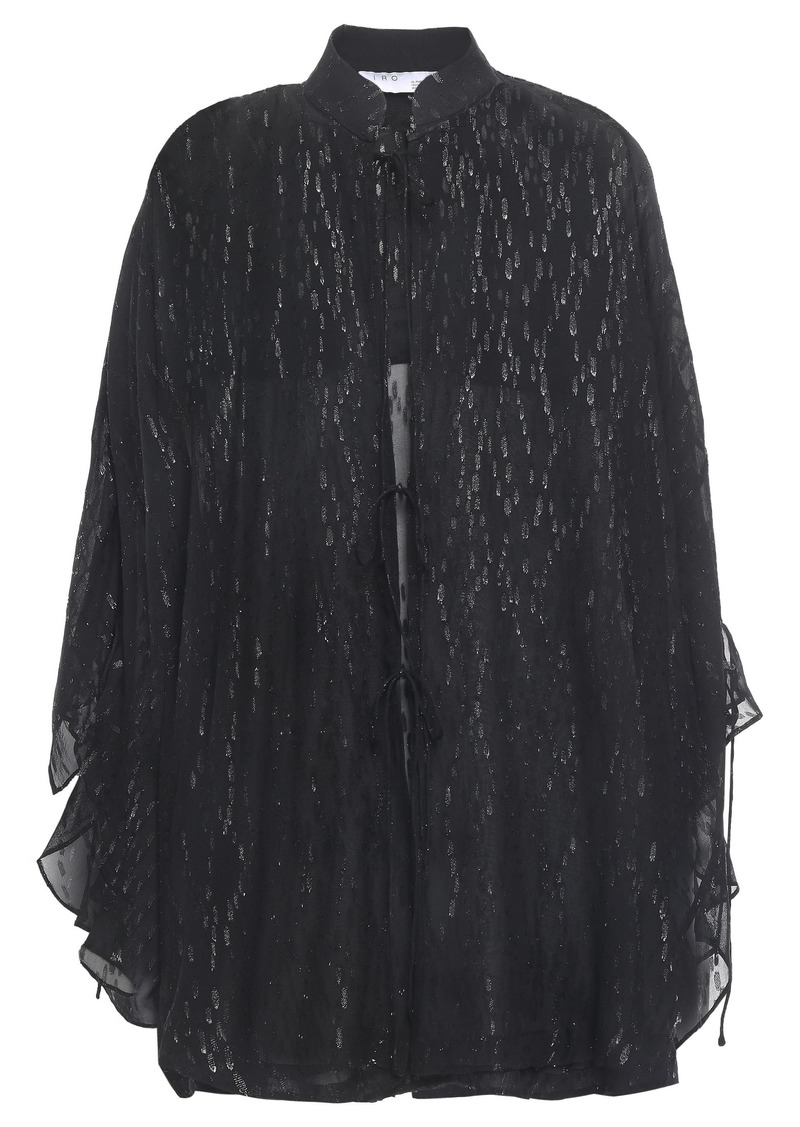 Iro Woman Abbey Tie-front Metallic Fil Coupé Silk-blend Chiffon Blouse Black