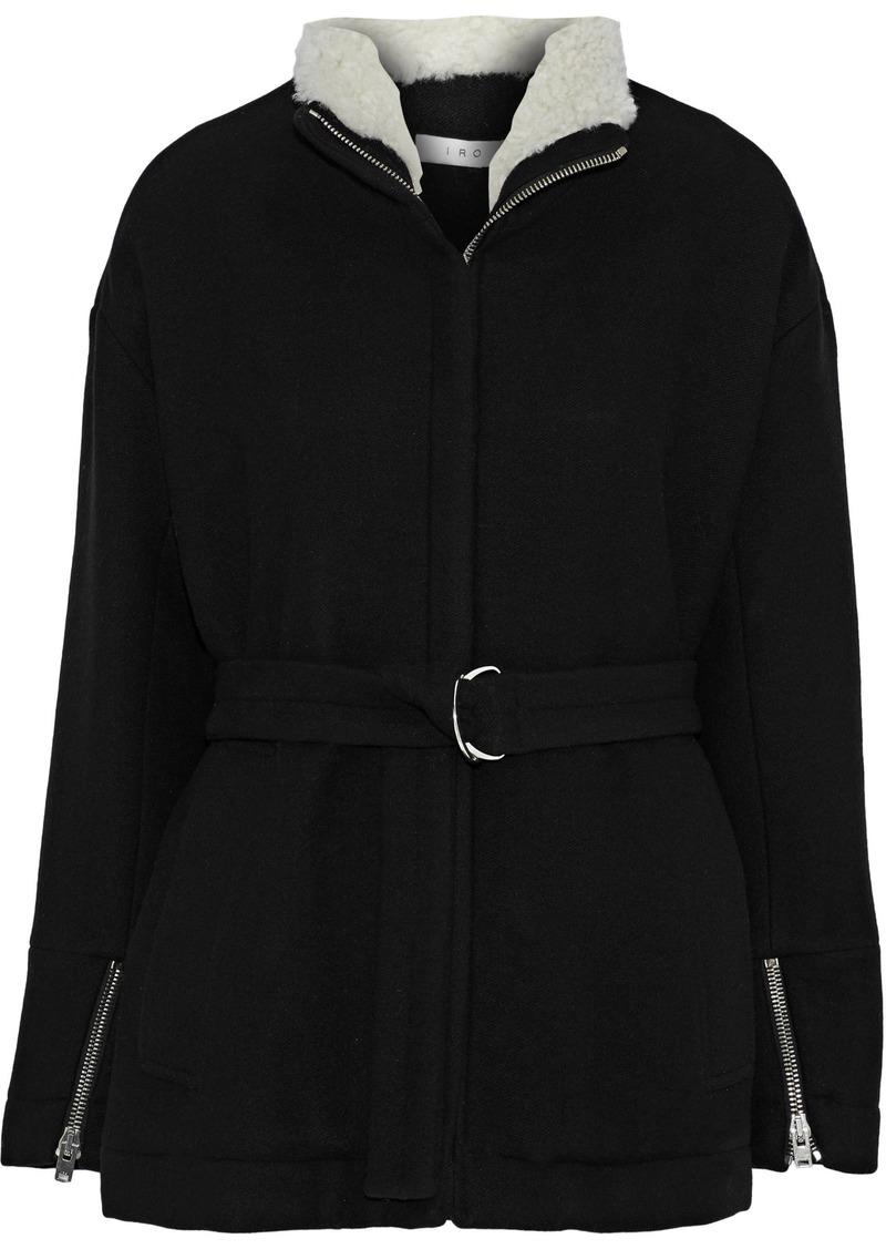 Iro Woman Achida Shearling-trimmed Wool-blend Twill Jacket Black