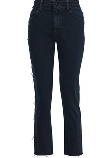 Iro Woman Act Frayed High-rise Slim-leg Jeans Dark Denim