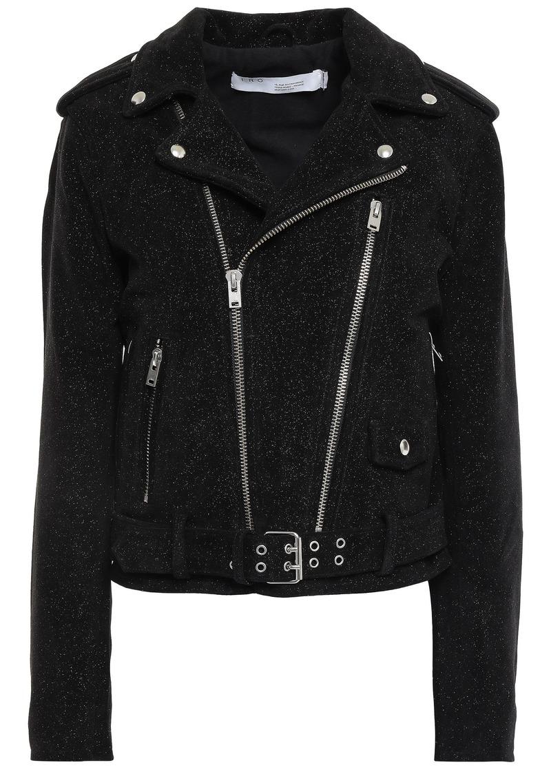 Iro Woman Adri Glittered Suede Biker Jacket Black